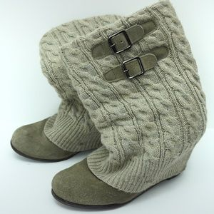 Steve Madden neutral sweater wedge booties